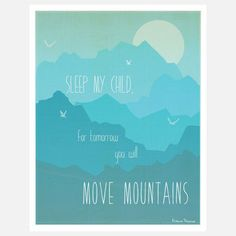 Move Mountains Print Blue now featured on Fab.