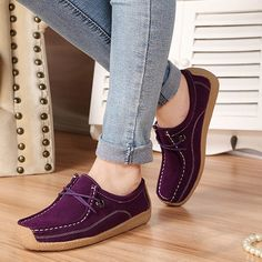 Women Casual Soft Suede Comfortable Lace Up Round Toe Flat Loafers Shoes  #womenfashion #womenshoes #loafers