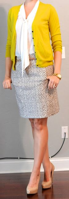 Outfit Posts: Yes! mustard cardigan Yes! white tie blouse Yes! printed pencil skirt (is it snakeskin print?)