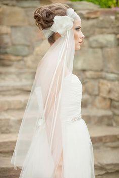 Silk Flower Veil, Fingertip Veil, Floral Headpiece, Bridal Fascinator, Bridal Veil, Headwrap Veil, 1920's, Art Deco - Rosalyn MADE TO ORDER
