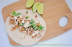 "Slow Cooker Enchilada Tacos with Chili-Lime Sour Cream {an easy ""throw in the slow cooker and walk away"" meal}"