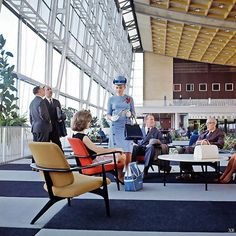 "archimaps: ""Inside the Sabena Airlines first class lounge at Brussels Airport, 1958 "" Brussels Airport, Airport Design, Airport Lounge, Mid-century Interior, Interior Design, Vintage Interiors, Googie, Vintage Design, 1950s Design"