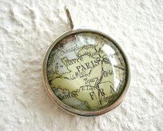 World Traveler Map necklace or Pendant  Paris by TheGreenDaisyShop, $20.00