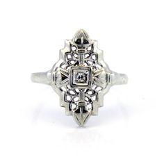 14K Antique Art Deco Diamond Filigree Navette by laurenrosedesign