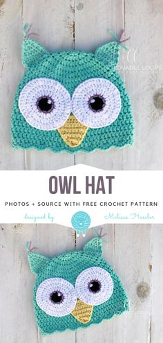 Owl Hat Free Crochet Pattern Owl trend is staying strong, especially in kids' apparel! I'm not surprised, how cute are those creatures? Owl Hat is. Crochet Owl Hat, Owl Crochet Patterns, Crochet Kids Hats, Crochet Bebe, Crochet Crafts, Crochet Headbands, Crocheted Hats, Beanie Pattern Free, Crochet Beanie Pattern
