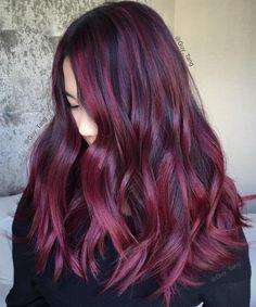 Black Hair With Burgundy Balayage