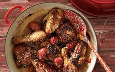 Chicken with plums, honey and spices recipe