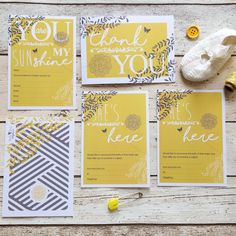 The You Are My Sunshine coordinating cards on www.littledot.co.uk and on Etsy. This range matches perfectly with the You Are My Sunshine decorations and party games at www.littledot.co.uk