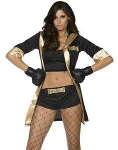 Boxing Knockout Babe Queen Of The Ring Womens Halloween Costume+Gloves