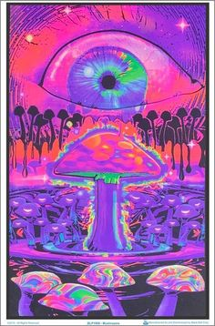 Fantasy Blacklight, Eye Above Mushroom Art Inches x 35 Inches), Fantasy Mushroom Ripple Blacklight, Fantasy Posters/Wall Art, Fantasy Merchandise Hippie Painting, Trippy Painting, Hippie Wallpaper, Trippy Wallpaper, Psychedelic Art, Trippy Pictures, Fantasy Posters, Trippy Drawings, Stoner Art