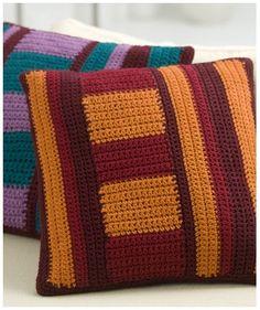 Free Mod-Striped-Pillows crochet pattern from Red Heart Crochet Cushion Cover, Crochet Pillow Pattern, Crochet Cushions, Knit Pillow, Afghan Crochet Patterns, Knitting Patterns, Crochet Home, Free Crochet, Knit Crochet