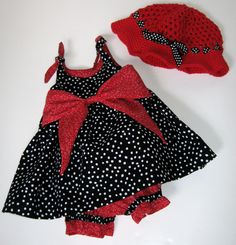 Baby Girl Toddler Sun Dress with Pantaloons Bloomers Sun Hat Cap Size 12 to 18 Months Ready to Ship. $28.00, via Etsy.