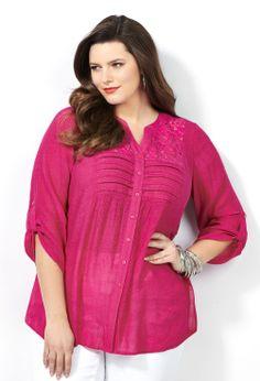 Crinkle Button-Front Blouse with Lace Trim-Plus Size Blouse-Avenue