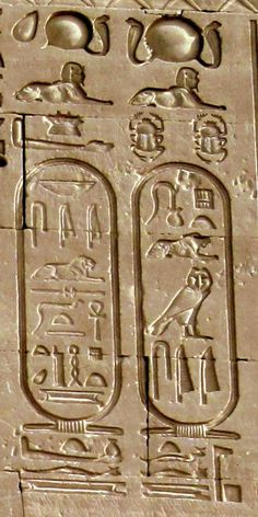 Egipatski hijeroglifi / Cartouches of Caesarion in Dendera Temple, Egypt. In archaeology, it refers to an oval or oblong shape enclosing Egyptian hieroglyphics that typically express divine or royal names. Egyptian Mythology, Ancient Egyptian Art, Ancient Aliens, Ancient History, Art History, Egyptian Goddess, European History, Ancient Greece, Architecture Antique