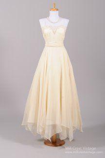 1960's Cream Chiffon Handkerchief Vintage Wedding Gown