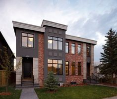 Executive Calgary Semi-detached - modern - exterior - calgary - Stephens Fine Homes Ltd ideas for recycled red bricks