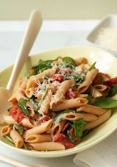 Spinach Pasta Toss — Spinach. Tomatoes. Cheese. Penne pasta. With ingredients this good, you don't need much else! (Bonus: This only takes 25 minutes to make, start to finish.)
