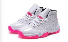 Best Price Womens Air Jordan 11 GS White Pink Black Shoes For Sale - ishoesdesign Pink Jordans, Jordans Girls, Nike Air Jordans, Womens Jordans, Shoes Jordans, Retro Jordans, Pink And White Jordans, Cheap Jordans, Jordan 11