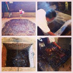 La Capilla, Zaachila: lamb barbacoa: earth-covered pit; remove final cover, release steam; charred avoc lvs over lamb; remove meat