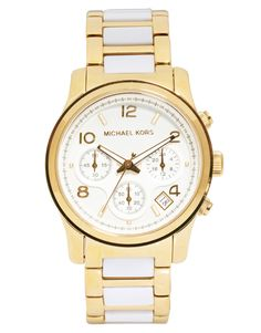 Michael Kors Runway White And Gold Strap Chronograph Watch- I want want want