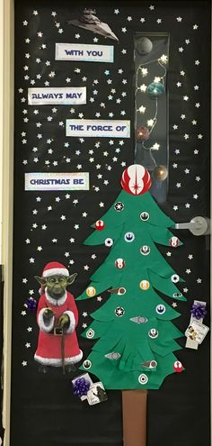 Star Wars Christmas for the door decorating contest at our high school. Love Yoda!