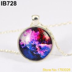 Galaxy The Nebula Universe Pendant Glass Dome Cabochon Silver Plated Personality Chain Necklace 4U3M