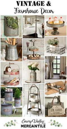 Vintage Farmhouse Decor So many great farmhouse and vintage items. Vintage Farmhouse Decor, Country Farmhouse Decor, Farmhouse Style Kitchen, Farmhouse Style Decorating, Farmhouse Design, Rustic Decor, Farmhouse Living Products, Farm House Decorating, Country Modern Decor