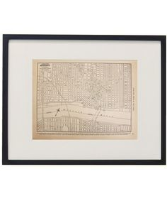 Vintage Framed City Map, Detroit – High Street Market