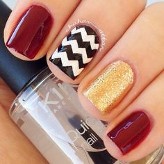 Gorgeous fall color combo. Burgundy, Gold, and Black and Which Chevron.