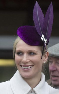 12th March 2013. Zara Phillips seen wearing a hat by Jane Taylor on the opening day of the Cheltenham Festival.