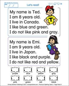 ESL PHONICS  SPELLING, BOOK 2 -    Teaching kids to read is easy! Phonics  Spelling, Book 2, introduces young ESL students to reading, writing and spelling in English. Step by step, students learn to phonetically sound out and spell words in a CVC pattern and to read simple sentences. Phonics  Spelling, Book 2 also teaches students easy sight words, how to write a simple self-introduction with likes and dislikes, and colors.