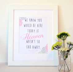 If Heaven Wasn't So Far Away 8x10 Wedding Sign- customized wedding sign. $11.00, via Etsy.
