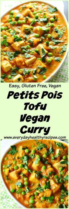 Petits Pois Tofu Vegan Curry This delicious Petits Pois Tofu Vegan Curry is a nutritious and convenient weeknight dinner idea – it's vegan, low fat and super easy to make. #curry #petitspois #peas #veggies #vegetarian #easymeal #vegan #dairyfree #glutenfree #famnilydinner #tofu #everydayhealthyrecipes #healthyrecipe