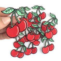 Cherry Embroidered Patch / Iron-On by WildflowerandCompany on Etsy