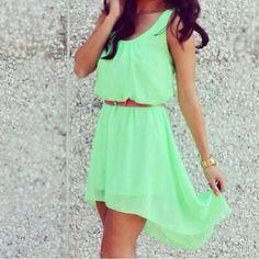 Dress: neon, green, summer outfits, cute, clothes, mint, belt ...