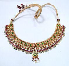 India   Vintage Kundan Meena choker   20k solid gold, Diamonds, Rubies, Emeralds and Pearls.