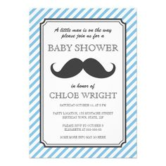 Retro blue stripes retro mustache bash baby shower personalized announcement