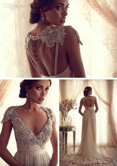 With Gift! Elegant Romantic Wedding Dresses Inspired by Anna Campbell Lace Capped Beaded Backless V Neck Sleeves Sheath Bridal Dresses ebelz