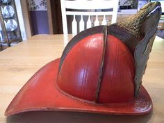 Antique Cairns & Bro Leather Fire Helmet Very cool! Fire Helmet, Vintage Helmet, Simply Red, Fire Dept, Fire Engine, Headgear, Riding Helmets, Vintage Items, Chicago Fire