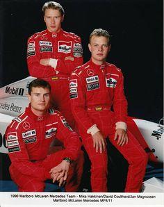 The 1996 McLaren team: David Coulthard, Mika Häkkinen and Jan Magnussen