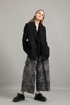 A/W Double Cloth Worsted Matte Double Breasted Jacket Vintage Finished Shiffon Bow Collar Blouse Gobelins Jacquard Pleated Baggy Pants