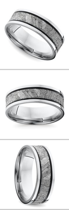 Antiqued grooves line a genuine Gibeon Meteorite inlay on this 7.5 mm flat cobalt mens wedding band for a classic look with a modern edge.