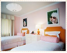 33 Wonderful Shared Kids Room Ideas: Two Girls Bedroom – Goyovo Love the pink and orange Two Girls Bedrooms, Little Girl Rooms, Kids Bedroom, Kids Rooms, Bedroom Ideas, Bedroom Inspiration, Bedroom Decor, Twin Girls, Bedroom Pictures