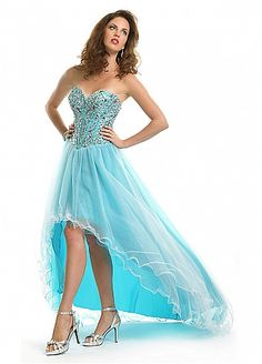 Stunning Tulle & Stretch Satin A-line Sweetheart Neckline Beaded High Low Homecoming Dress