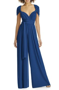 MyChicPicks - Dessy Collection Convertible Wide Leg Jersey Jumpsuit - Find and compare your style across the world's leading online stores! Bridal Jumpsuit, Halter Jumpsuit, Jumpsuit Pattern, Jacket Pattern, Designer Jumpsuits, Designer Dresses, Kurti Designs Party Wear, Dress Designs, Vogue Dress Patterns
