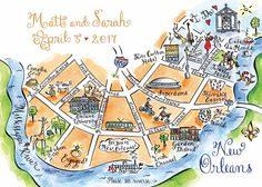 New Orleans illustrated map by Stephannie Souffe Couture Maps