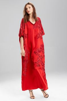 Josie Natori Couture Jacquard Embroidery Caftan