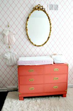 Antique-inspired baby girl's nursery - #coraldresser #goldaccents #nurserydesign