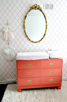 Antique-inspired baby girl's nursery - #coraldresser #goldaccents #nurserydesign