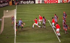 Ole Gunnar Solskjaer pokes home the winner for United at the Nou Camp in 1999, defeating Bayern Munich. The crowning moment of United's treble winning season.